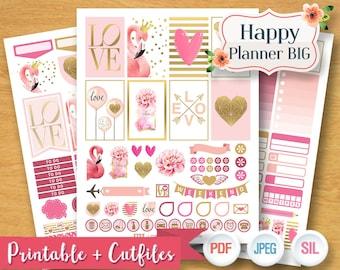 2017 - 2018 LOVE FLAMINGO Weekly Planner Stickers Digital Planner Kit Sticker Plan Love Heart Pink Set Printable BIG Happy Planner Stickers