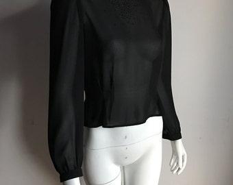 Audrey Hepburn's Miss Renfrew 7 (S) Black Blouse Puffy Sleeve 60's Beads Holt Renfrew Couture