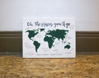 Oh, the places you'll go map // graduation canvas // graduation guest sign // class of 2017 // canvas map // graduation gift // map //