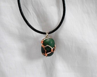 Green Agate Stone Bead with Hammered Copper and Silver Wire Wrapped Pendant Necklace