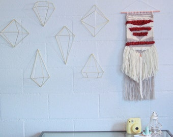 Rich Red and Neutrals Woven Wall Hanging