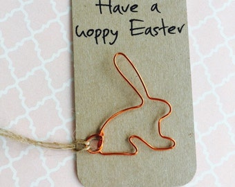 Have a hoppy easter handmade bunny or bunny ears on backing card/label, choice of colours, easter gift