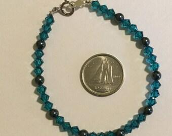 Swarovski Crystal Bracelet, Sterling Silver Bracelet, Swarovski Crystal, Sterling Silver Clasp, Bracelet