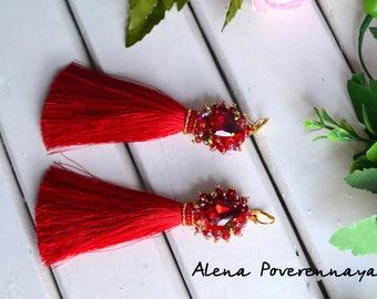 Silk earrings long, Tassel earrings, Earrings, Silk earrings, Red earrings, Fashion jewelry, Wedding jewelry, long earrings