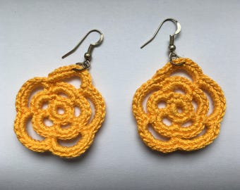 Textile Flower Earing - Everyday Earrings - Minimal Textile Earrings - Textile Jewelry - Gift for Her Crochet - Ready to ship