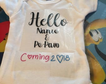 Pregnancy announcement onesie