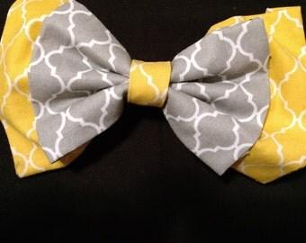 Yellow and Gray Lattice Hairbow