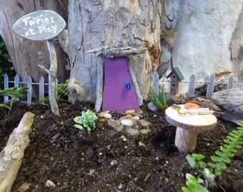 Hand Made Garden Fairy Garden Door, Gnome Door, Fairy Table & Fairy Sign Post (Indoor/Outdoor Use)