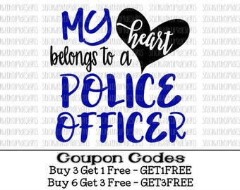 My heart belongs to a Police Officer svg Back the Blue svg My heart belongs to svg file PNG files for Silhouette Cameo svg files for Cricut