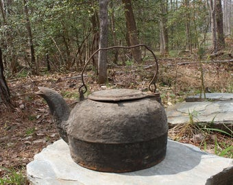 Antique Cast Iron Tea Kettle with Swivel Lid and Handle - Tea Pot - Farmhouse Decor - Rustic Garden - Primitive Decor - Rustic Planter