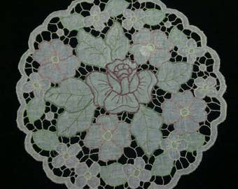 "Doily ""Purple Rose""-Handmade embroidery"