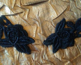 Black Embroidered Lace Appliques