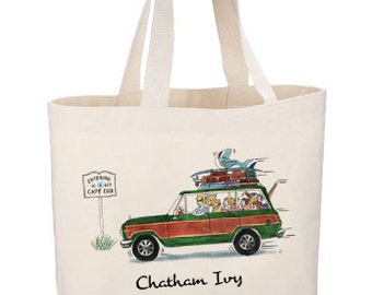 Entering Cape Cod Beach Tote by Chatham Ivy! - Wagoneer - Woody Wagon - road trip