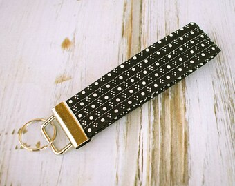 Quilted Fabric Key Fob, Key Chain, Key Holder -  Black and White Dot