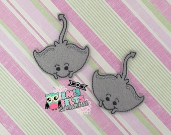 Set of 4 Stingray Feltie, Felt Appliques, Felt Embelishment,