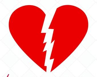 broken heart svg, valentine svg, heartbreaker cut file, heart DXF, cutting files, clip art, printable, Silhouette Cameo, Cricut