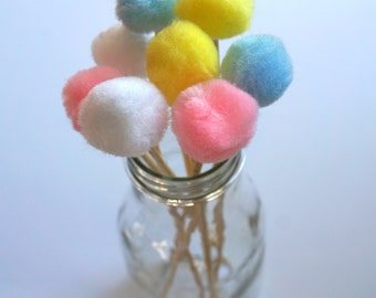 Pastel Pom Stir Sticks