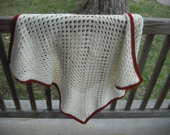 Cream and Rust Baby Blanket