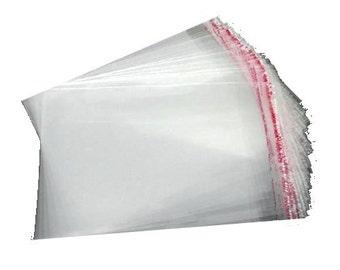 100 plastic bags 5 x 11.5 cm transparent bags bags adhesive closure
