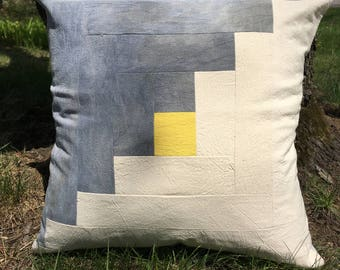 Naturally Hand Dyed Log Cabin Throw Pillow Cover