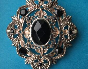 Onyx & Silver Brooch