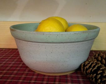 White satin matte lined with icy turquoise pottery bowl,  pottery bowl, mixing bowl, pottery mixing bowl,  centerpiece