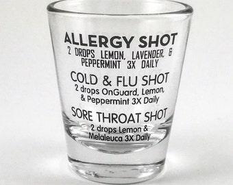 Essential Oils Shot Glass – Recipes Allergy Cold Flu Sore Throat Digestive Cold Sore - by Hidden Essentials