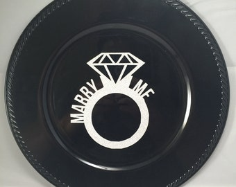 """Black charger plate- """"Marry Me"""" wedding engagement gift proposal engaged"""