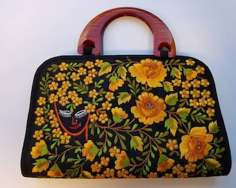 Hand embroidered handbag floral ethnic India gifts for her