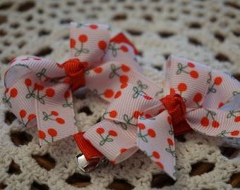 Cute Cherry Ribbon Hair Pins