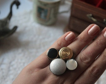 Silver, gold, pearl, black repurposed button ring