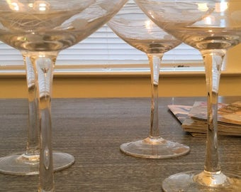 Martini Glasses (4) with Autumn Design - Price Reduced!