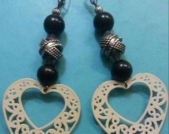 Beaded White Heart Charm Earrings