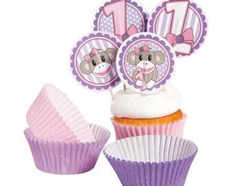24Pcs! 12 Miss Sock Monkey Baking Cups & 12 Toppers
