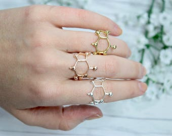 Science Caffeine Molecule Ring in Rose Gold, Gold, Silver - Caffeine Molecule - Coffee Ring - Coffee Jewelry - Caffeine Jewelry