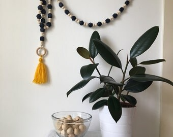 Natural Two-tone Wood Bead Garland with Tassle