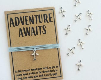 Adventure Awaits travel plane wish charm bracelet