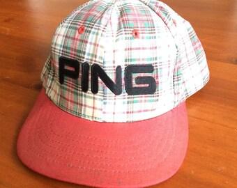 Ping Golf Plaid Strapback Hat Vintage