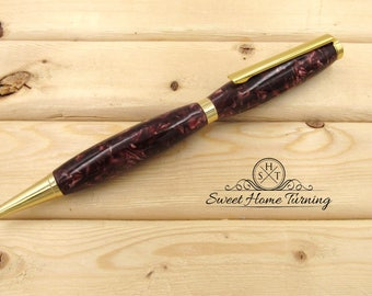 Hand Turned Slimline Pen |  Cranberry Pen  |   Cranberry Crush Acrylic Pen