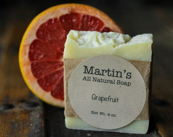 Grapefruit Soap / Martin's All Natural Soap / Vegan Soap / All Natural / No Palm Oil / No Artificial Ingredients