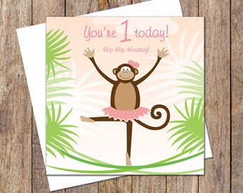 First Birthday Card. Greeting Card. First Birthday Ballet Monkey Card. Girl Birthday Card. Gift Card. Girl Ballet Birthday Card. Ballet Card