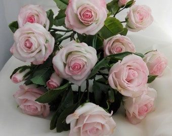 bouquet of roses from a cold porcelain