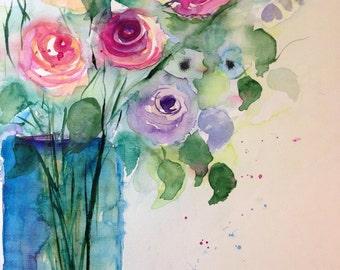 """Watercolor """"Bouquet of roses"""" nature, flowers, unique, 30 x 40 cm"""