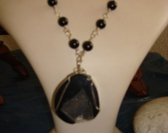 925 Silver Wire Wrapped Agate Necklase