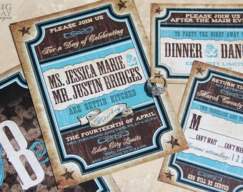 Vintage, Western Wedding Invitation. Western Vaudeville invitations. Texas themed wedding invitations