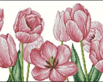 Cross stitch pattern PDF pink tulips, Cross stitch pattern PDF bouquet of pink tulips, Cross stitch pattern PDF flowers