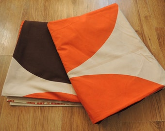 "FREE SHIPPING - Vintage MARIMEKKO Orange, Brown half Round 2 pcs curtains, Finland 1967 y, Maija Isola ""Istuva Harka"", size w 120 x l 159 cm"