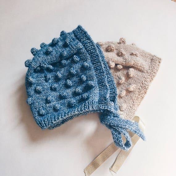 Baby bonnet, baby bonnet popcorn - knit - cotton crush - knobs - workshop me