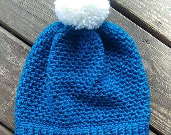Ladies/teen slouchy pom pom hat