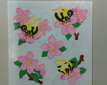 Sandylion Stickers Scrapbooking vintage Bees and Flowers   (1 mod)